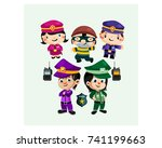 little kids colorful policeman... | Shutterstock .eps vector #741199663
