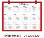 2018 calendar   illustration... | Shutterstock .eps vector #741203329