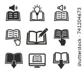 book vector icons set. black... | Shutterstock .eps vector #741204673