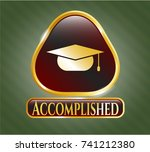shiny emblem with graduation... | Shutterstock .eps vector #741212380