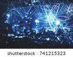 abstract glowing atom scribble...   Shutterstock . vector #741215323