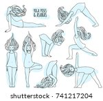 set of yoga poses with cute... | Shutterstock .eps vector #741217204