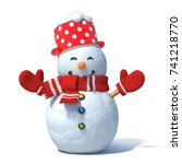 Snowman Isolated On White...