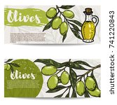 set of olive oil flyers. olive... | Shutterstock .eps vector #741220843