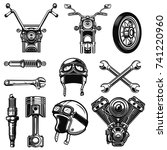 set of vintage motorcycle... | Shutterstock .eps vector #741220960