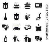 16 vector icon set   bin ... | Shutterstock .eps vector #741221410