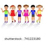 children holding hands. vector... | Shutterstock .eps vector #741223180