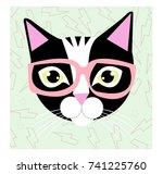cat hipster | Shutterstock .eps vector #741225760