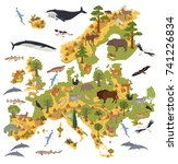 flat european flora and fauna... | Shutterstock .eps vector #741226834