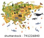 flat asian flora and fauna map... | Shutterstock .eps vector #741226840