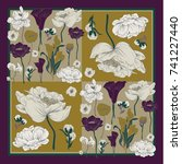 colorful silk scarf with... | Shutterstock .eps vector #741227440