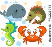 set of cartoon pictures with... | Shutterstock .eps vector #741229798