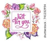 wildflower begonia flower frame ... | Shutterstock . vector #741232954