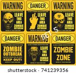 poster zombie outbreak. sign... | Shutterstock .eps vector #741239356