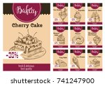 desserts and cakes price card... | Shutterstock .eps vector #741247900