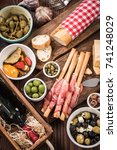 traditional spanish tapas for... | Shutterstock . vector #741248029