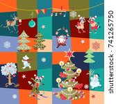 christmas patchwork pattern... | Shutterstock .eps vector #741265750