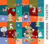 christmas patchwork pattern... | Shutterstock .eps vector #741265750