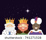the three kings with christmas... | Shutterstock .eps vector #741271528