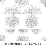 spider web set. halloween... | Shutterstock .eps vector #741274786