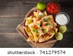 corn mexican nachos with beef ... | Shutterstock . vector #741279574