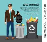 man holding a big trash bag ... | Shutterstock .eps vector #741281518
