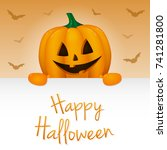 halloween   banner with funny... | Shutterstock .eps vector #741281800