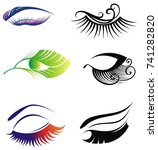 eyes and eye icon set vector... | Shutterstock .eps vector #741282820