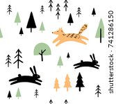 scandinavian geometric seamless ... | Shutterstock .eps vector #741286150