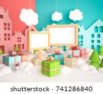 cartoon christmas mock up with... | Shutterstock . vector #741286840