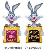 black friday. funny rabbit...   Shutterstock .eps vector #741290308