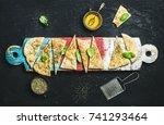homemade italian focaccia... | Shutterstock . vector #741293464