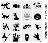halloween icon set vector | Shutterstock .eps vector #741293680