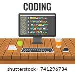 programming  web development... | Shutterstock .eps vector #741296734