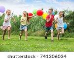 playful elementary school age... | Shutterstock . vector #741306034