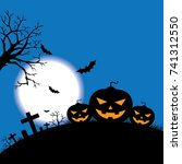halloween pumpkins background ... | Shutterstock .eps vector #741312550