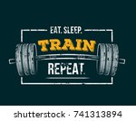 eat sleep train repeat. gym... | Shutterstock .eps vector #741313894