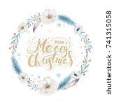 merry christmas watercolor...   Shutterstock . vector #741315058