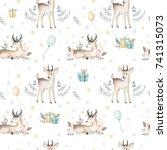 Seamless Christmas Baby Deer...
