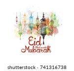 eid milad un nabi mubarak... | Shutterstock .eps vector #741316738
