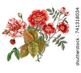Stock photo red rose flower isolated on white background botanical illustration watercolor 741318034