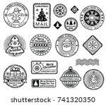 vintage christmas postage... | Shutterstock .eps vector #741320350