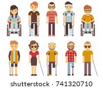 disabled people vector set. old ... | Shutterstock .eps vector #741320710