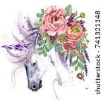unicorn. watercolor flower... | Shutterstock . vector #741321148