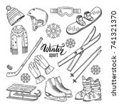 illustrations of winter sport.... | Shutterstock .eps vector #741321370