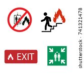fire safety vector icon set. in ... | Shutterstock .eps vector #741321478