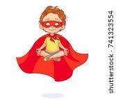 beautiful boy in a super hero... | Shutterstock .eps vector #741323554