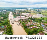 Aerial View Of Barges With 4...