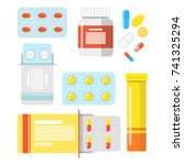 pills and capsules set....   Shutterstock .eps vector #741325294