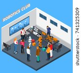 robotics club isometric... | Shutterstock .eps vector #741325309